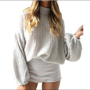 Sweaters - Grey Oversized Ballon Sleeve Knit Sweater Top